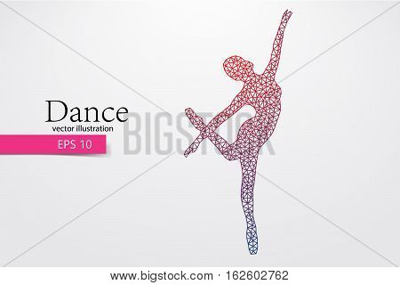 Silhouette of a dancing girl of triangle. Background and text on a separate layer, color can be changed in one click.