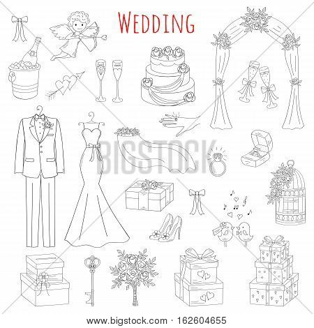 Vector set of hand drawn wedding icons wedding dress, suit, cake, cupid angel, bouquet, ring, arch, gift box, birdcage, champagne isolated doodle sketch illustrations.