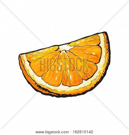 Realistic colorful hand drawn segment of ripe, juicy orange, sketch style vector illustration isolated on white background. Hand drawing of quarter, piece of orange on white background