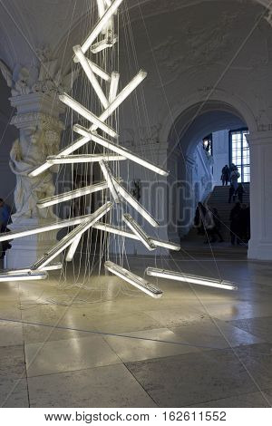 VIENNA, AUSTRIA - JANUARY 1 2016: Light installation Under the Weight of Light by Manfred Erjautz at the entrance of Schloss Belvedere in Vienna Christmas tree hor 2015 holidays