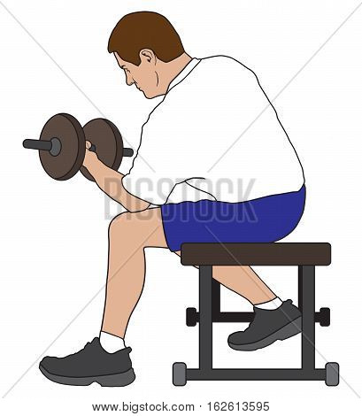 Man is sitting on bench in gym working out with dumbbells