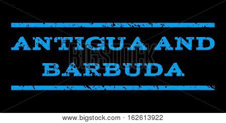 Antigua and Barbuda watermark stamp. Text tag between horizontal parallel lines with grunge design style. Rubber seal stamp with unclean texture. Vector blue color ink imprint on a black background.