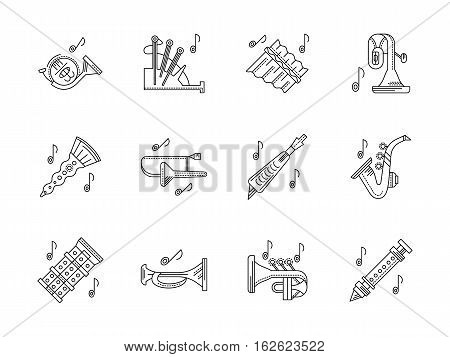 Musical brass and woodwind instruments. Orchestral melodies and tunes. French horn, bagpipes, panpipe and other. Set of black flat line design vector icons.