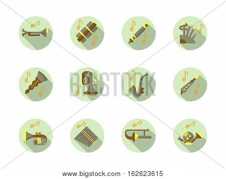 Brass and woodwind instruments music. Concerts, festivals and classical musical entertainment. Collection of stylish flat color round vector icons.