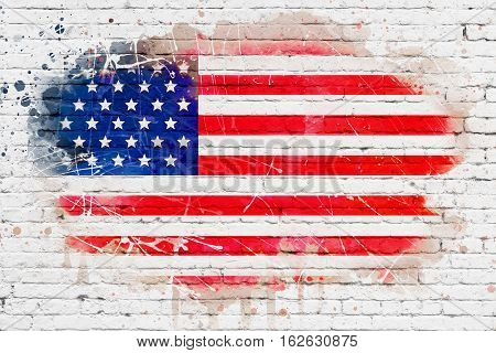 united states of america flag on white brick wall background painted with watercolor effect artistic style usa vote election concept