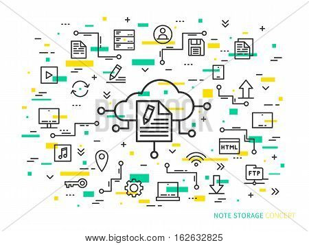 Online note storage vector illustration on colorful background. Web cloud technology graphic design. File storage creative concept. Linear internet data storage concept.