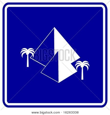 pyramids and palm trees sign