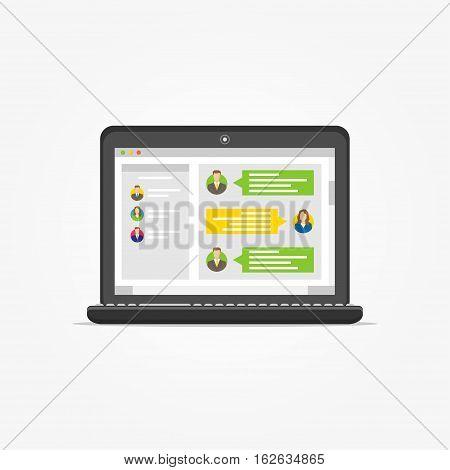 Laptop with messenger application vector illustration. Messenger app creative concept. Application for communication graphic design.