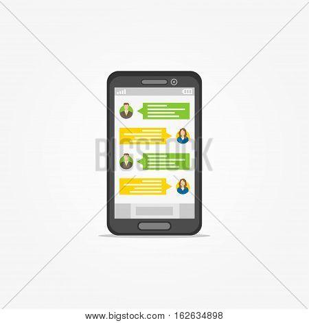 Smartphone with messenger application vector illustration. Application for communication graphic design. Messenger app creative concept.