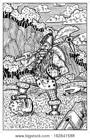 Dwarf with ax fighting goblin. Fantasy magic creatures collection. Hand drawn vector illustration. Engraved line art drawing, graphic mythical doodle. Template for card game, poster