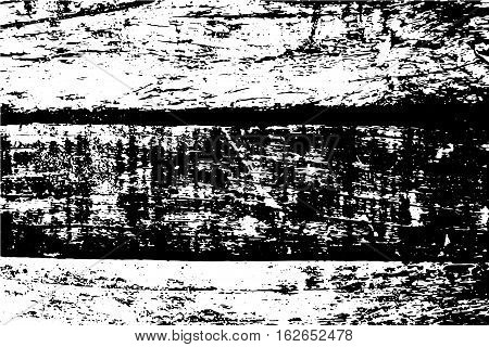 Grunge vector texture of wooden board vector illustration. Obsolete wood vector trace. Distressed effect layer for vector images. Old timber monochrome image. Natural vintage card in black and white