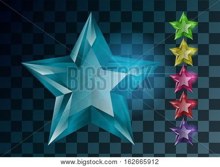 Set of crystal transparent stars. Different colors
