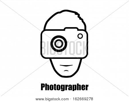 Photographer with a camera icon. Vector pictogram.