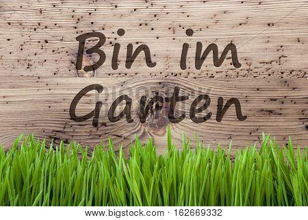 German Text Bin Im Garten Means I Am In The Garden. Spring Season Greeting Card. Bright Aged Wooden Background With Gras.