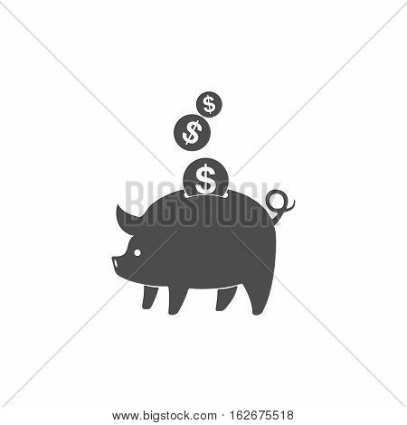 Piggy bank and coins icon isolated. Gray piggy bank with falling dollar coins in flat design. Vector illustration.