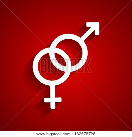 Heterosexual gender white symbol on red background