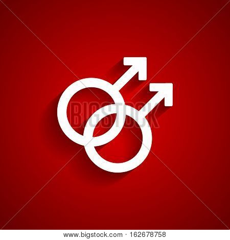 Homosexual gender white symbol on red background