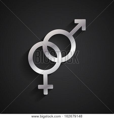 Heterosexual gender silver symbol on black background