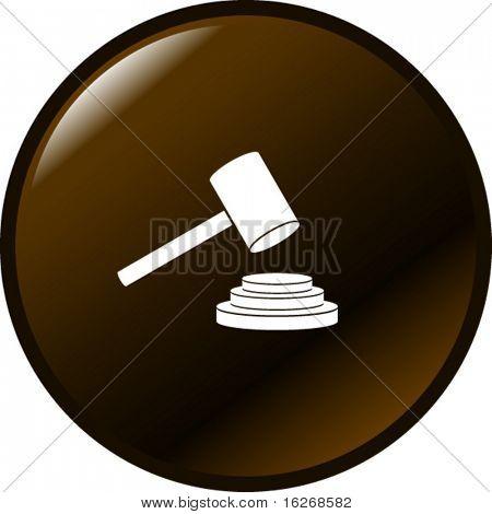 botón de martillo de juzgar o subasta