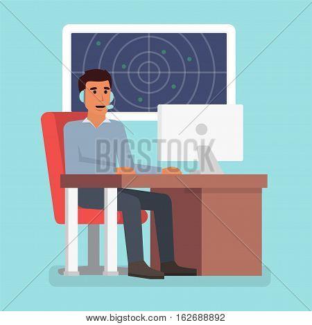Emergency call center online support. Phone operator. Flat design vector illustration