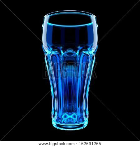 Blue Highball Glass Isolated on Black. Clipping Path. 3D Illustration