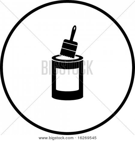 simplified illustration of a paint bucket and a paint brush, to be used as a sign, symbol or icon