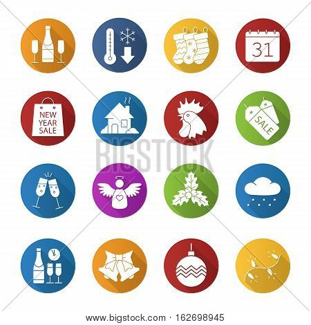 Christmas and New Year flat design long shadow icons set. Jingle bells, temperature falling, Xmas tree garland and ball, mistletoe, rooster, New Year party and shopping. Vector silhouette illustration
