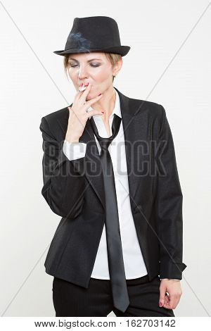 Studio Photograph Of Young Confident Smoking Hot Business Woman With Hot Business Idea Thought And Brainwave While Pipe Smoking, Isolated On White Background