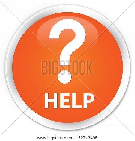 Help (question Icon) Premium Orange Round Button