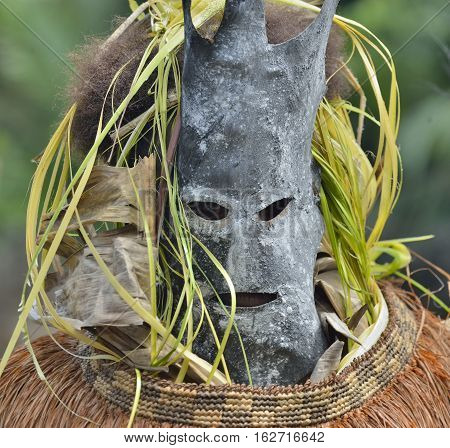 Asmat people mask for the rite. Ancestors embodied in spirit mask Jungle of New Guinea. Indonesia.