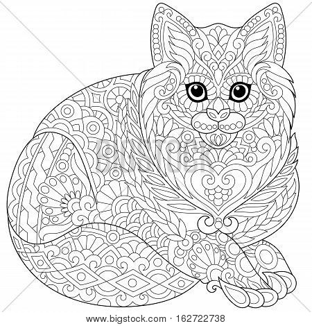 Stylized cute cat (young kitten). Freehand sketch for adult anti stress coloring book page with doodle and zentangle elements.