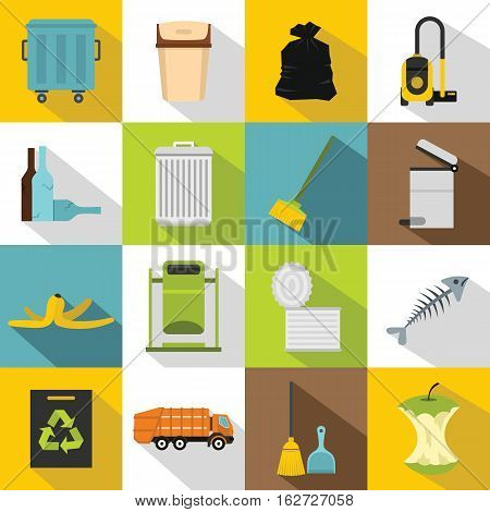 Garbage thing icons set. Flat illustration of 16 garbage thing vector icons for web