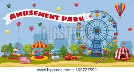 Amusement park landscape concept. Cartoon illustration of amusement park landscape vector concept for web