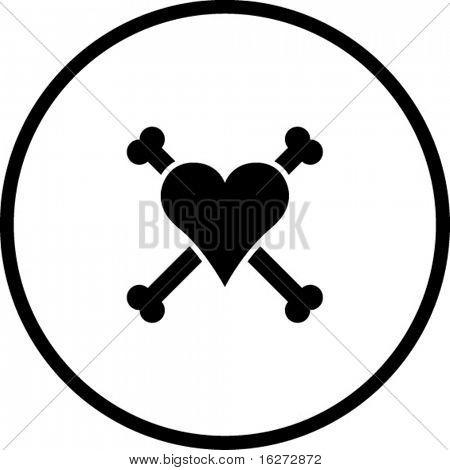 heart with bones symbol