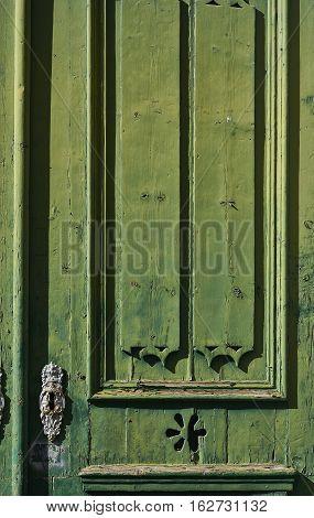 Antique Green Wooden Door.