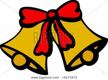 christmas or wedding bells with ribbon