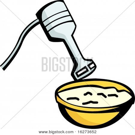 mixing bowl and electric hand blender
