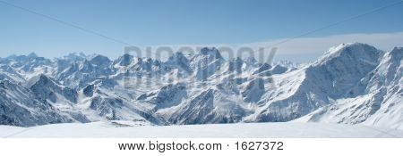Panorama Of Winter Mountains In Caucasus