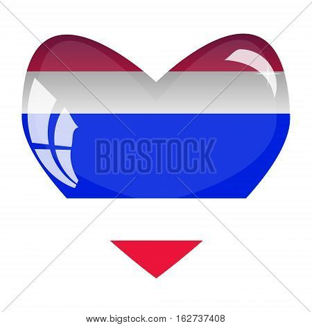 National flag of Thailand in a glass heart.