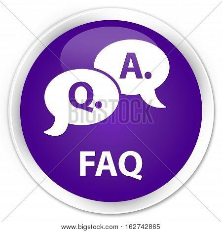 Faq (question Answer Bubble Icon) Premium Purple Round Button