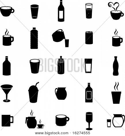 beverages and drinks symbol set 2
