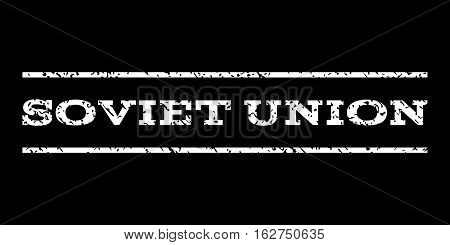 Soviet Union watermark stamp. Text caption between horizontal parallel lines with grunge design style. Rubber seal stamp with dust texture. Vector white color ink imprint on a black background.