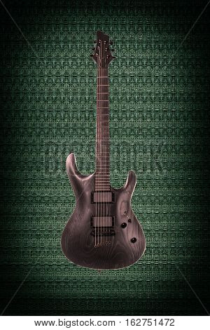 Beautiful black wooden electric guitar on green abstract techno background