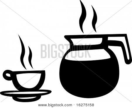 coffee pitcher or jar and cup