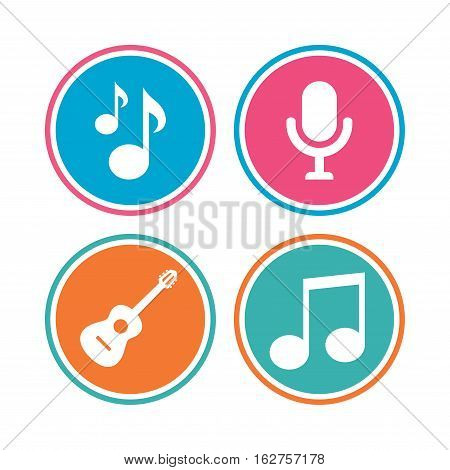 Music icons. Microphone karaoke symbol. Music notes and acoustic guitar signs. Colored circle buttons. Vector