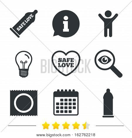 Safe sex love icons. Condom in package symbol. Fertilization or insemination. Heart sign. Information, light bulb and calendar icons. Investigate magnifier. Vector