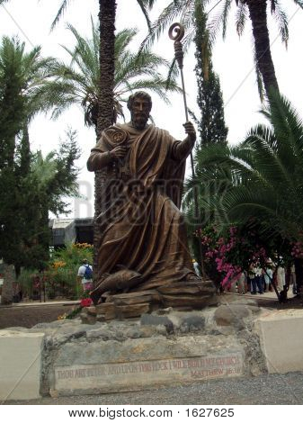 Statue Of St.Peter In The City Of Christ/Capernaum In Israel