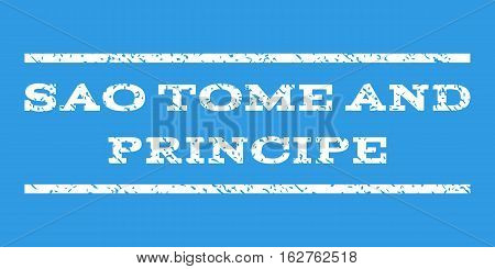 Sao Tome and Principe watermark stamp. Text caption between horizontal parallel lines with grunge design style. Rubber seal stamp with scratched texture.