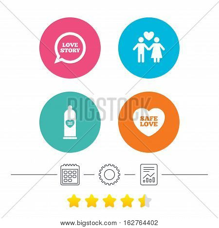 Condom safe sex icons. Lovers couple signs. Male love female. Speech bubble with heart. Calendar, cogwheel and report linear icons. Star vote ranking. Vector