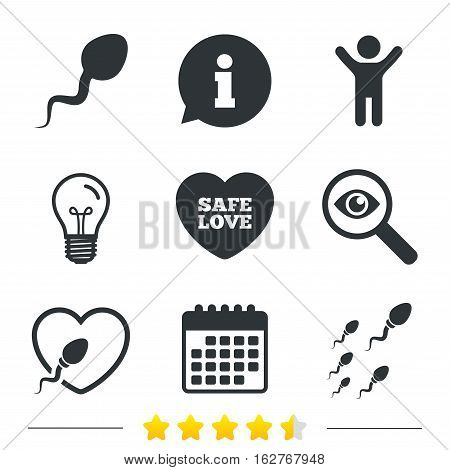 Sperm icons. Fertilization or insemination signs. Safe love heart symbol. Information, light bulb and calendar icons. Investigate magnifier. Vector